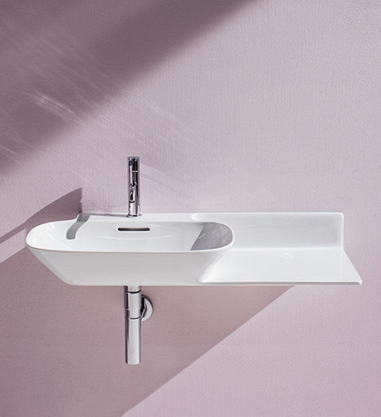 Rece bathroom Laufen wall hung basin shelf